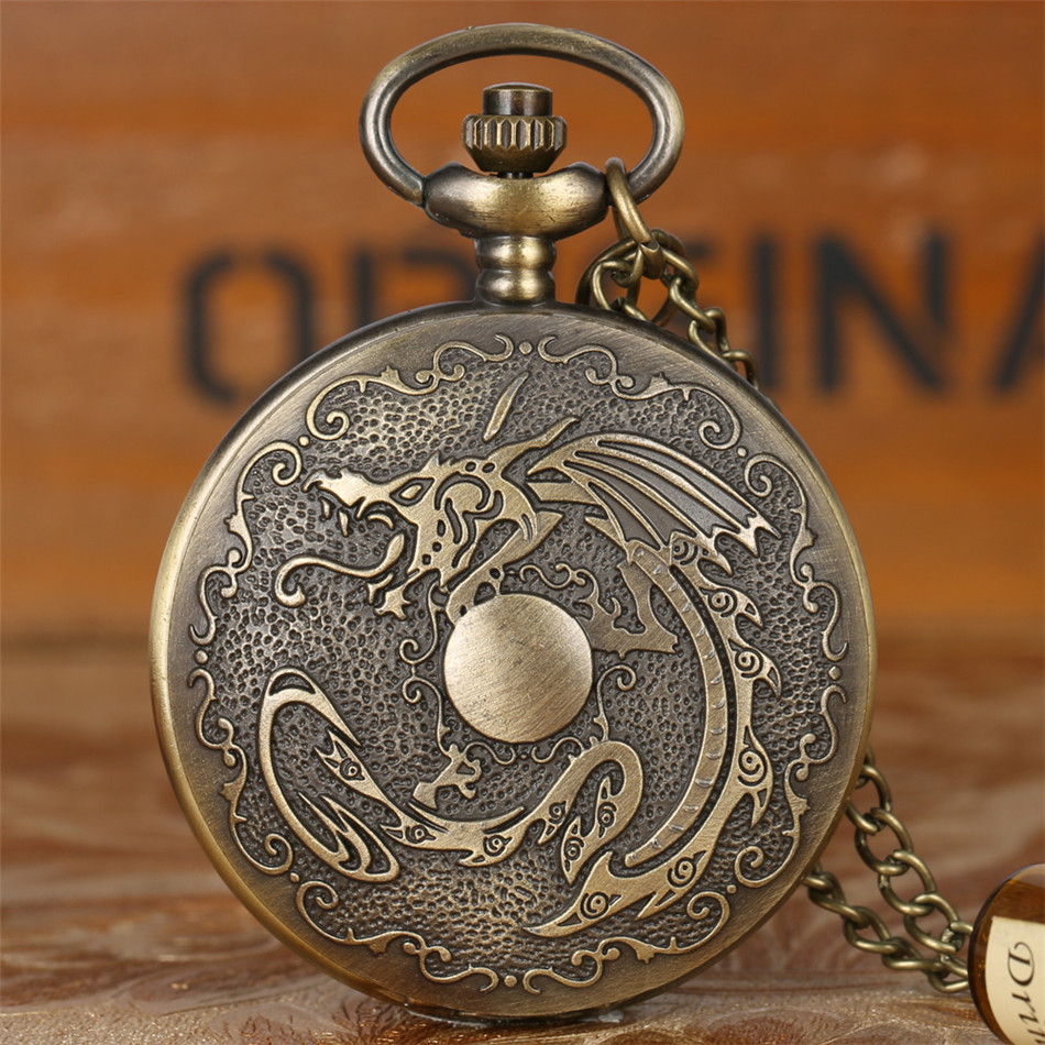 Vintage Fashion Flying Dragon Play Ball Design Quartz Pocket Watch Retro Punk Necklace Watch Fob Sweater Chain Antique Clock