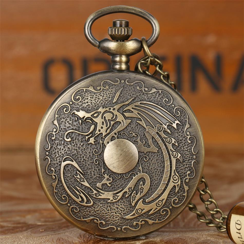 Vintage Fashion Flying Dragon Play Ball Design Quartz Pocket Watch Retro Punk Necklace Watch Fob Sweater Chain Antique Clock