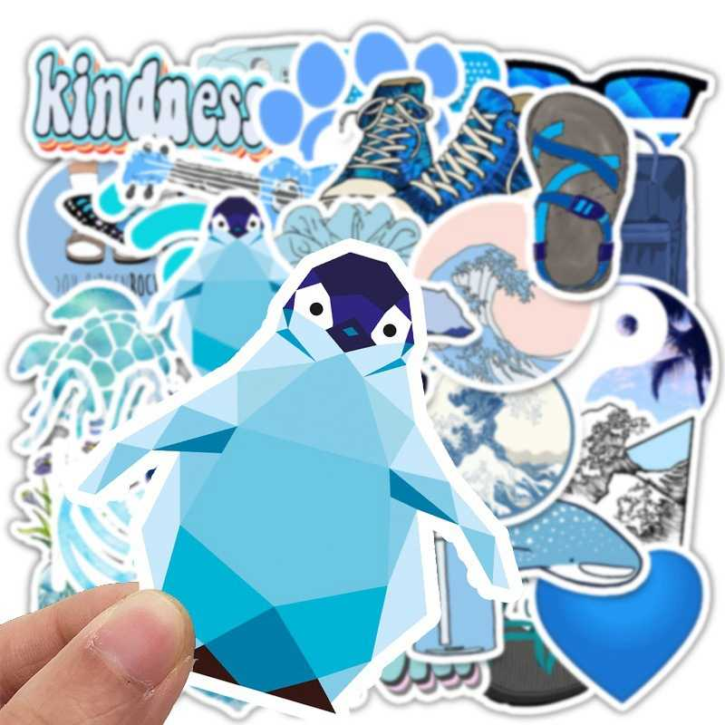 50 Buah Biru VSCO Stiker Paket Hewan Tahan Air Laptop Skateboard Mainan untuk Anak Stiker untuk Anak-anak Grafiti Buku Tempel Stiker