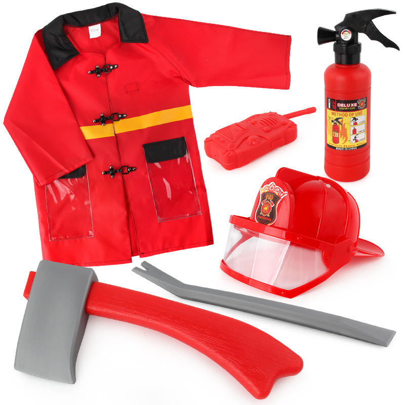 Kids Firefighter Fireman Cosplay Costume Waterproof Jacket Uniforms Clothes Role Play Toy Funny Halloween Party Game Gift