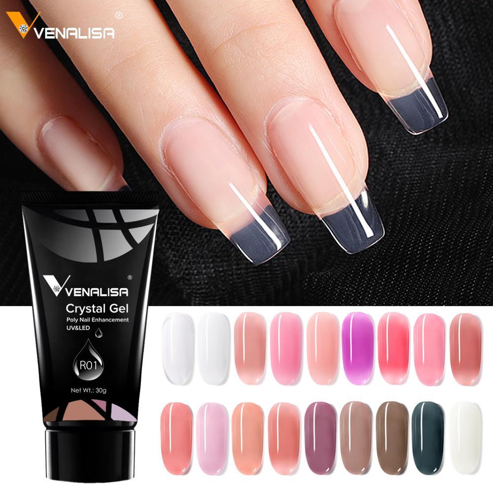 Venalisa поли гель для ногтей 30 г дизайн ногтей прозрачный камуфляж цвет стекловолокно Жесткий Желе быстрое строительство ногтей удлинение рез...
