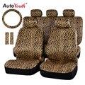 Роскошный чехол для автомобильного сиденья AUTOYOUTH с леопардовым принтом, универсальные подкладки для ремня безопасности и универсальная за...