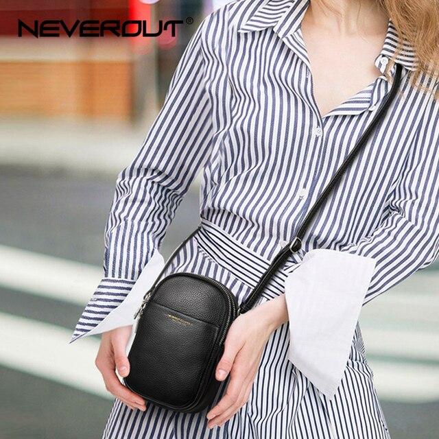 NEVEROUT из натуральной кожи сумка для мобильного телефона через плечо для Для женщин Дамская хозяйственная сумка через плечо деньги сумка с длинным ремнем