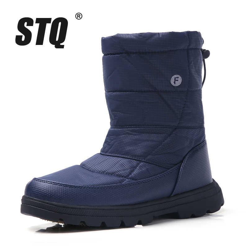 STQ 2019 kış kadın kar botları orta buzağı çizmeler kadın kaymaz lastik çizmeler siyah sıcak kürk peluş su geçirmez botlar 1811