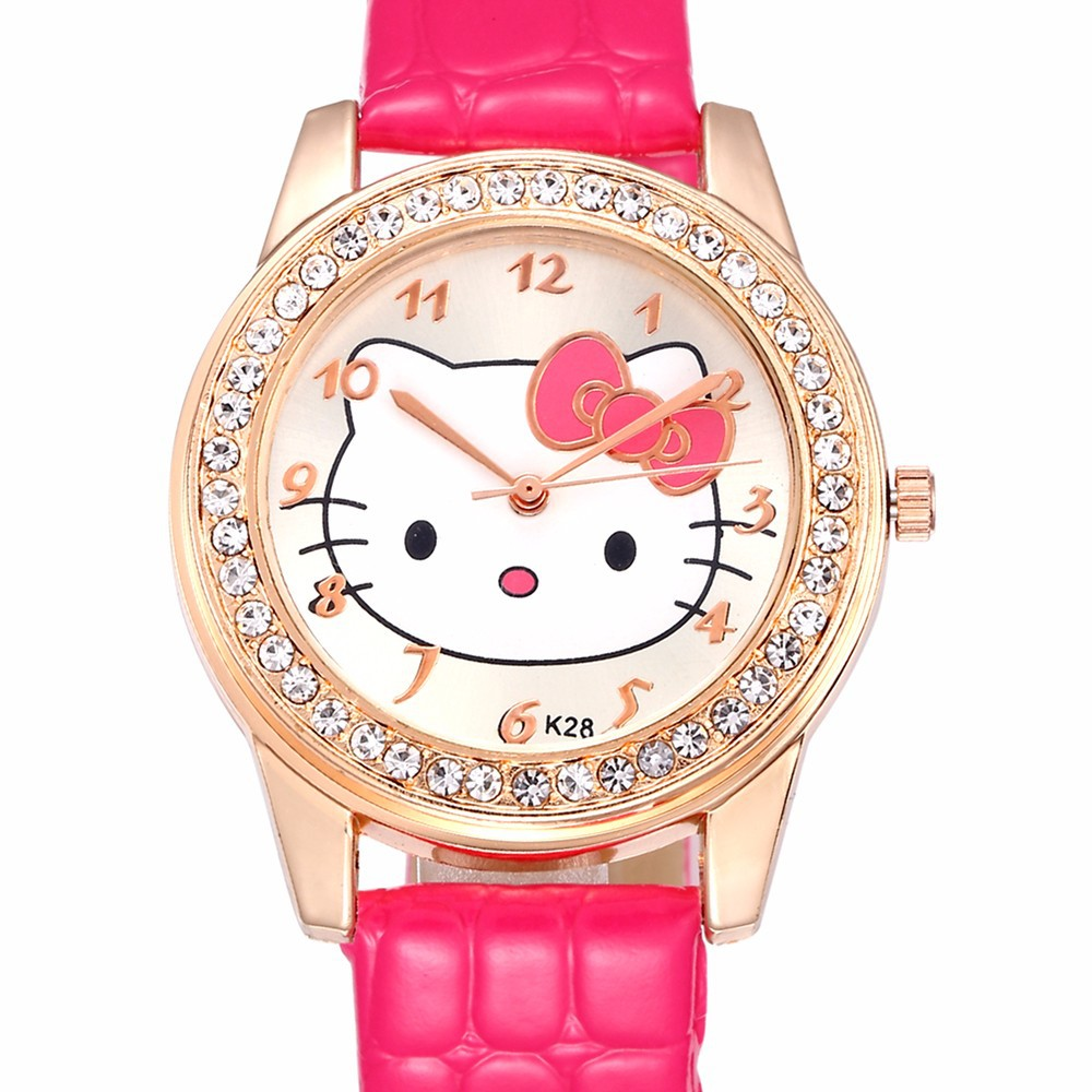Hello Kitty Cartoon Watches Women Kids Luxury Rose Gold Diamond Quartz Wrist Watches Kids Casual Leather Sport Watch Gifrs Gifts