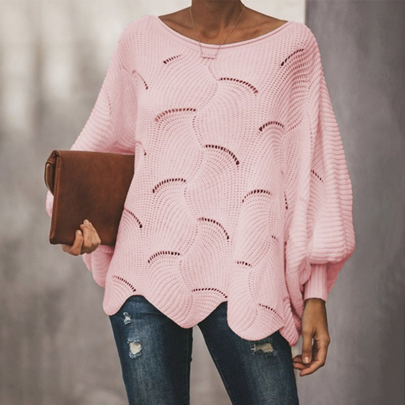 Women Loose Sweater Cloak Casual Oversized Lantern Sleeve Hollow Out Pullovers Knitted Wave Hem Female Sweaters Plus Size 5XL