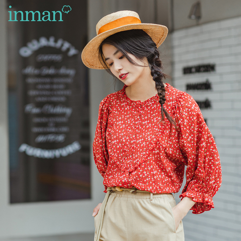 INMAN 2020 Summer New Arrival Shivering Cotton Lace Rose Print Sweet Three Quarter Sleeve Blouse