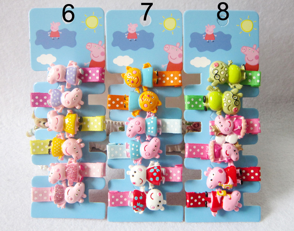 Set New Children Cute Cartoon Animals Peppa Pig Hairpins Girls Lovely Colors Hair Clips Kids Baby Sweet Hair Accessories