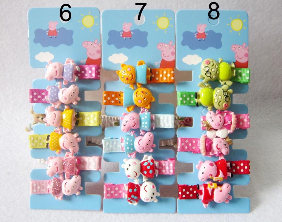 Set New Children Cute Cartoon Animals Peppa Pig Hairpins Girls Lovely Colors Hair Clips Kids Baby Sweet Hair Accessories