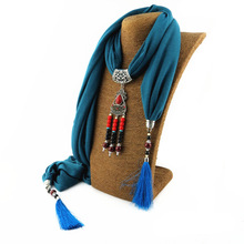 New polyester ceramic bead jewelry necklace national wind pendant scarf alloy flower pendant foreign trade tassel pendant scarf цена