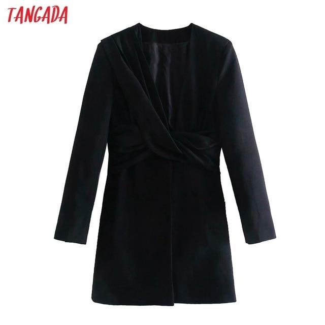 Tangada 2021 Fashion Women Elgant Pleated Party Dress Long Sleeve V Neck Ladies Short Dress 4M131 3