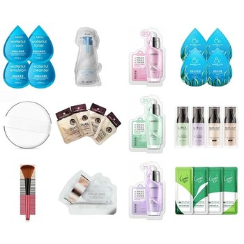 12 Styles Trial Cosmetics Sample Face Mask & Whitening Face Concealer Primer & Milk Beauty Body Lotion & Powder Puff & Brush image