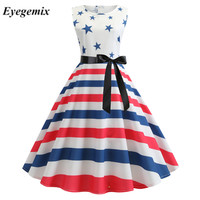 White Striped Stars Print Summer Dresses Fashion Sleeveless Pinup Robe Vintage 50 S 60 S Rockabilly Dress Large Swing Vestidos