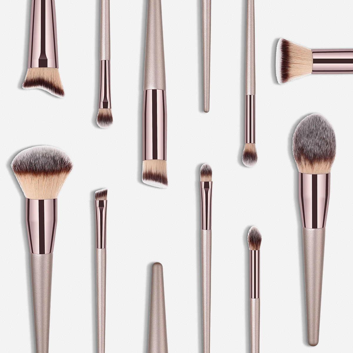 Luxo champanhe pincéis de maquiagem fundação pó blush eyeshadow cílios corretivo lábio olho mistura escova compõem escovas conjunto