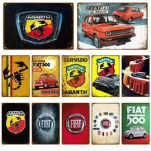 Retro FIAT 127 ABARTH Cars Metal Sign Tin Sign Garage Plaque Metal Wall Decor Vintage Decor Poster Plates Man Cave Shabby Chic