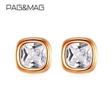 Stud-Earrings Jewelry MAG 925-Sterling-Silver PAG Zircon Square Women Real Simple