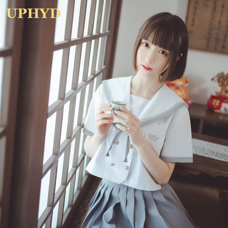 Academic Style Women JK Uniforms White Shirt Grey Pleated Skirt Sailor Suits Korea Japan Schoolgirl Cosplay Student Uniform
