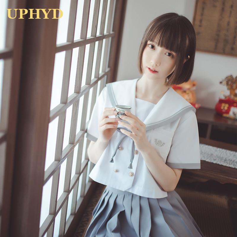 Academic Style Women JK Uniforms White Shirt Grey Pleated Skirt Sailor Suits Korea Japan Schoolgirl Cosplay Student Uniform