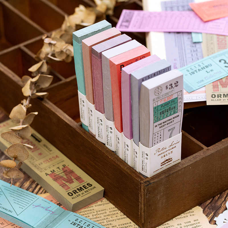 Vintage Tiket Perjalanan Ditulis Washi Tape Set DIY Dekorasi Scrapbooking Masking Adhesive Tape Label Sticker Stationery
