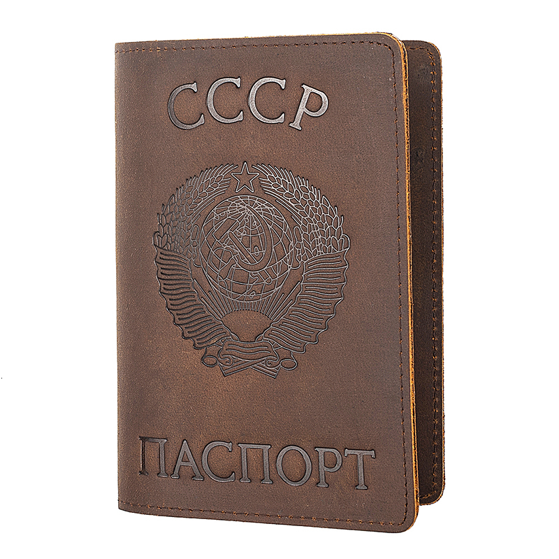 Business-Card-Holder Passport-Cover Credit-Card CCCP Russian Genuine-Leather And Retro
