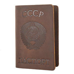 Russian Federation and CCCP Genuine Leather Passport Cover Retro Business Card Holder Men Credit Card ID Holders