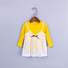 OUTAD Princess Baby Girl Dress Lace Stitching Lovely Bowknot Baby Clothing Long Sleeve Comfortable Round Collar Pullover Dress spring girls baby long sleeve doll collar princess dress mesh stitching love print tutu dress casual outfit kids clothing lr5