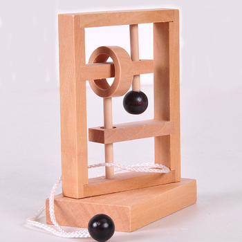 Luban Lock Magic Toy / Novelty 3D Wooden Rope Ring Puzzle IQ Adult String Brain Teaser / Children Puzzle Challenge Magic Game
