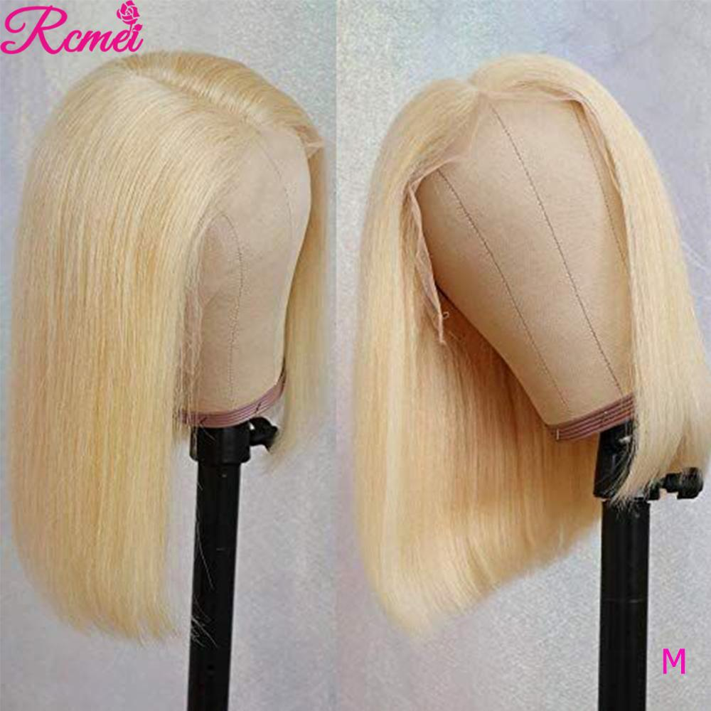 613 Bob Blonde Straight Transparent Lace Front Human Hair Wigs 13X4 Deep Part Short Brazilian Remy Hair Wig Pre Plucked 150%
