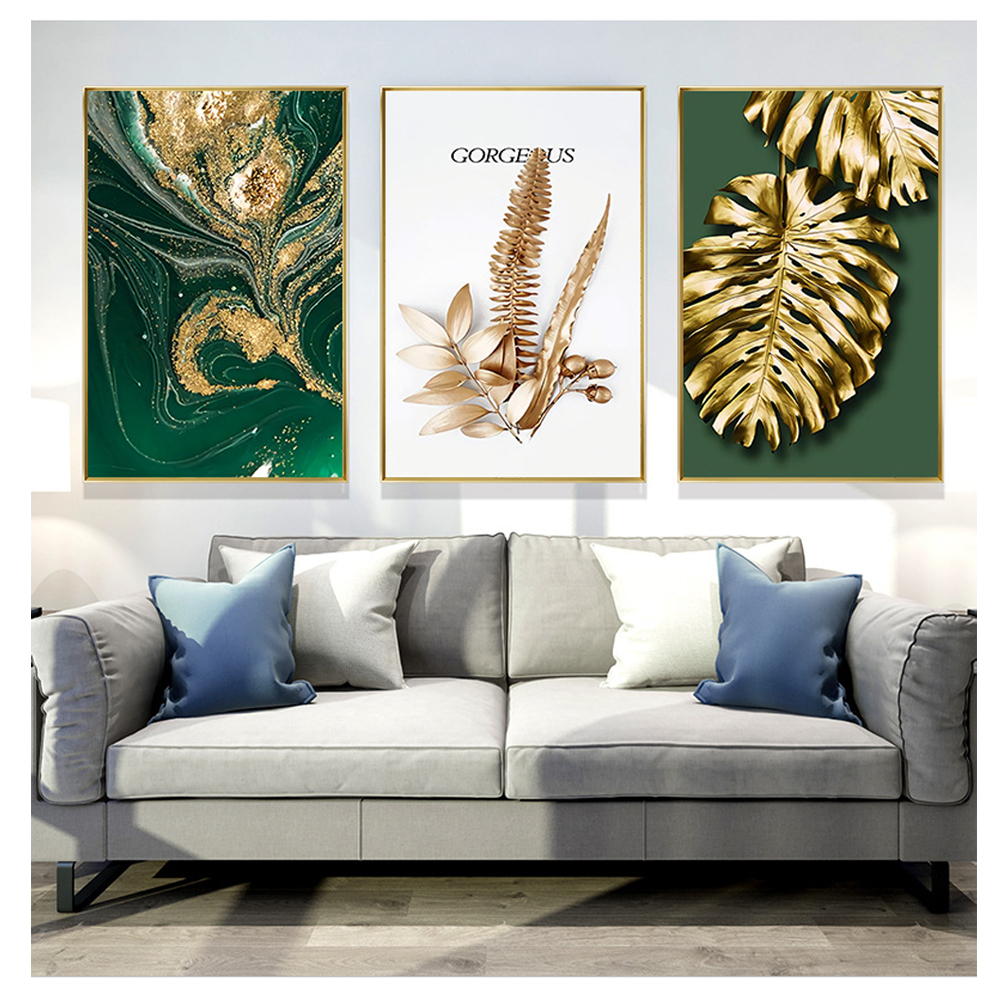 Abstract Golden Plant Leaves Picture On Wall Poster Modern Style Canvas Print Painting Art Aisle Living Room Unique Decoration