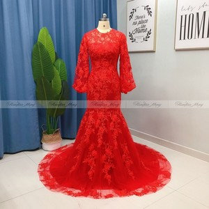 Image 2 - Encaje Amarillo dorado de manga larga para mujer, vestido de noche de Dubái, sirena, Flora 3D, vestidos de graduación de celebridad árabe, vestidos formales largos de talla grande 2021