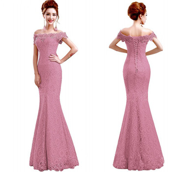 Pink Evening Dresses ES3031-1 A-Line Boat-Neck Off Shoulder Empire Lace Bow Elegant Sexy Party Gowns Robe De Soiree 2019