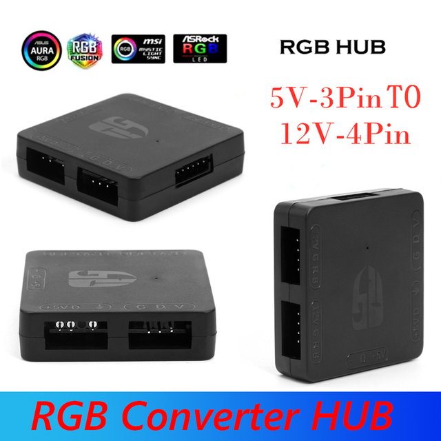 Portable RGB Converter 5V 3 Pin to 12V 4 Pin Converter HUB Simple Installation 5V to 12V RGB Motherboard Adapter for Computer