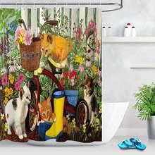 Весенняя садовая занавеска для душа с изображением симпатичных