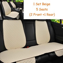 5 Seats Car Seat Cover With Backrest Protector Flax Front Back Rear Back Seat Cushion Pad for Auto Interior Truck Suv or Van