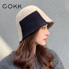 Bucket-Hat Fisherman-Cap Bob Knitted Round Vintage Korean Winter Fashion Women New Top