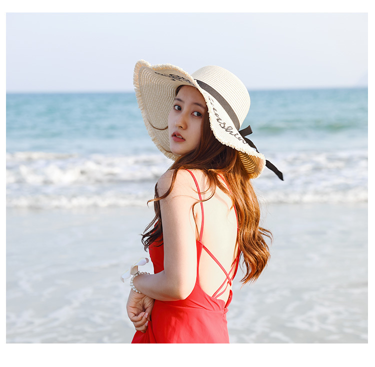 H681293860e684c8c89dcdae3d5c863f60 - Handmade Weave letter Sun Hats For Women Black Ribbon Lace Up Large Brim Straw Hat Outdoor Beach hat Summer Caps Chapeu Feminino