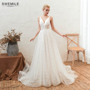 SWEMILE Romantic Beach Lace Wedding Dress 2019 Vestido De Noiva Sexy Spaghetti Straps Lace Up Back Wedding Gowns Robe De Mariee