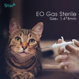 Image 1 - (60 pcs) 1.4*8 millimetri Animale Microchip RFID transponder Iso11784 Fdx b 134.2khz LF cat dog tags pet siringa per cat vet riparo uso
