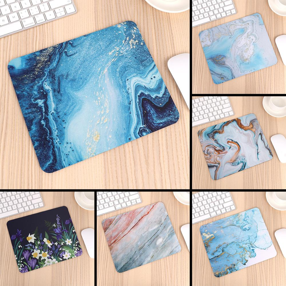 Good Use Small Mouse Pad For Game Playing Lover Rubber Mouse Mat Marble Design & Flower Pattern