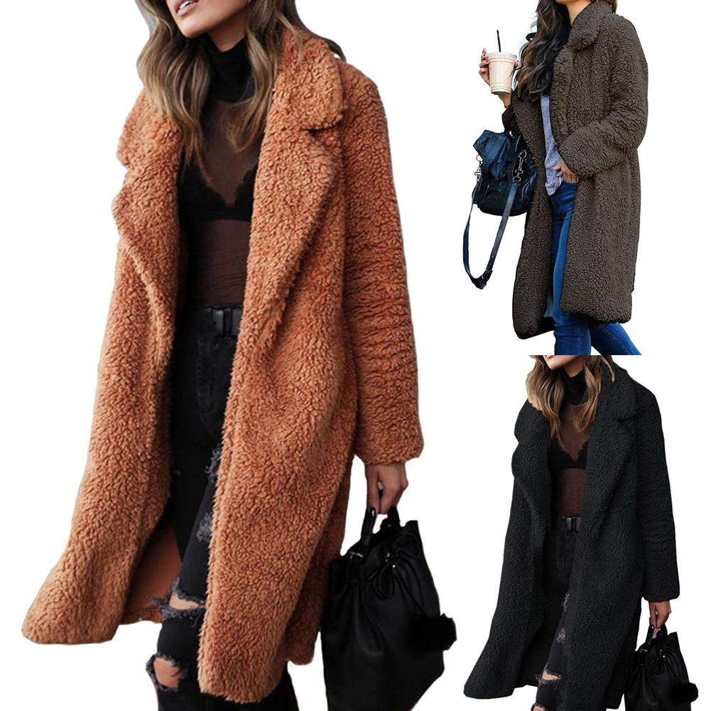Coat Women Winter Thicken Plush Lapel Solid Color Long Sleeve Warm Cardigan Midi Coat Polyester Fiber/Spandex Women's Coat