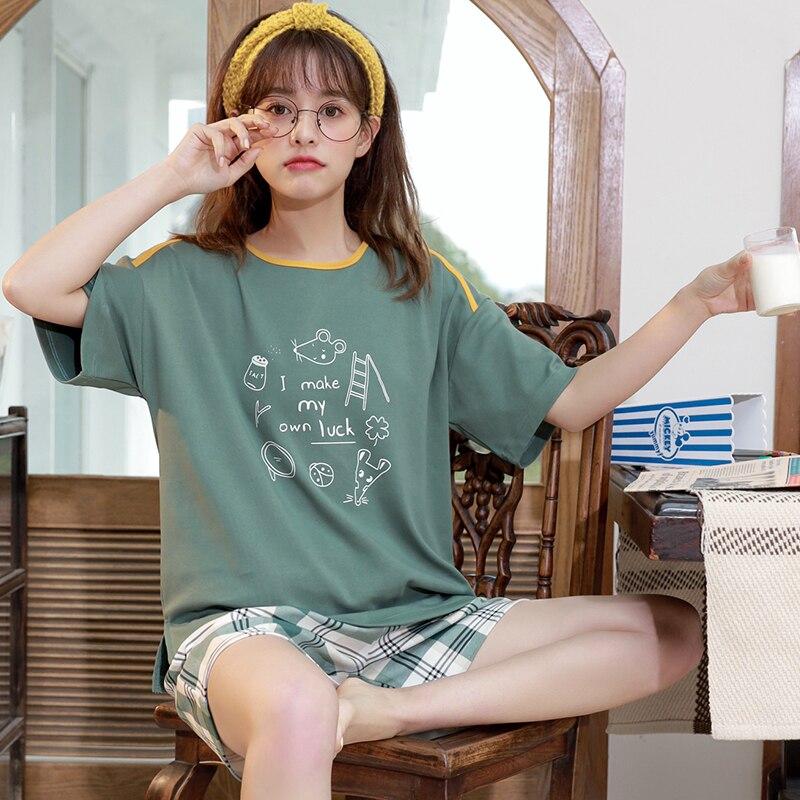 Image 4 - Caiyier New 2020 Cute Duck Print Pajamas Set Cotton Short Sleeve Sleepwear Summer Women Nightwear Casual Cosy Girls Home SuitsPajama Sets   -