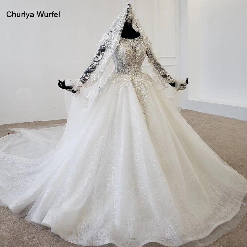 HTL1176 Luxury Wedding Gowns O-neck Short Sleeves Appliques Sequin Srystal Lace Up Sparkly Wedding Dress New Vestidos De Noiva