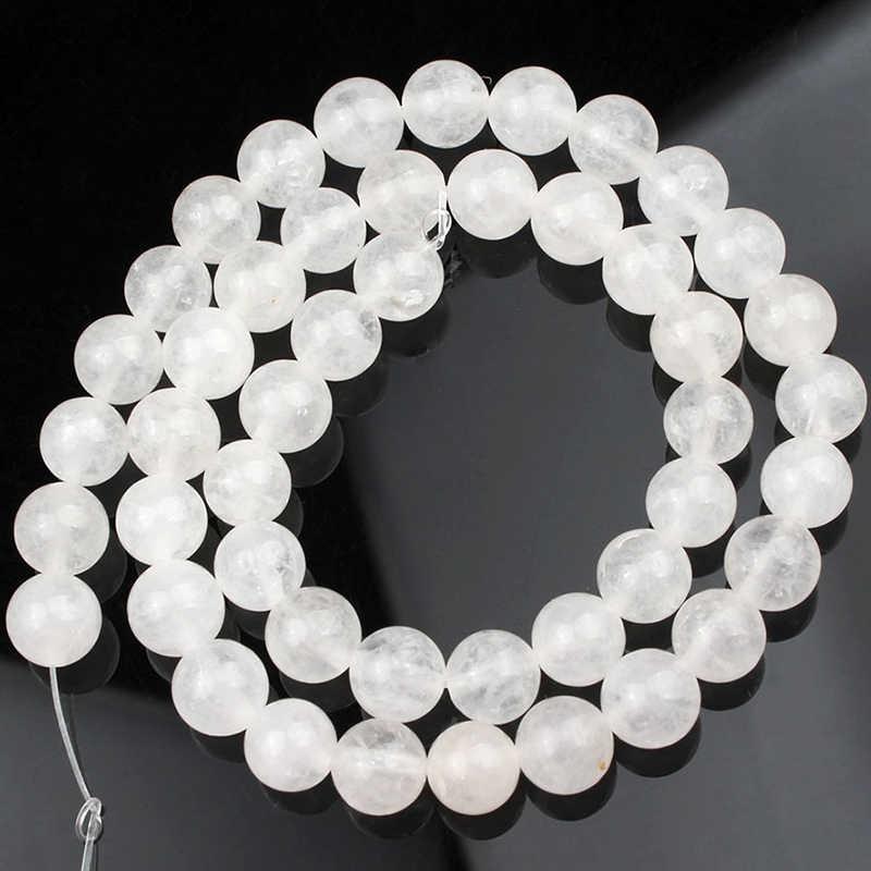 """AAA + ธรรมชาติสีขาว Jades รอบหลวมหินลูกปัดสำหรับเครื่องประดับ 15.5 """"นิ้ว 4/6/8 /10/12 มม.ทำ DIY สร้อยข้อมือจี้สร้อยคอ"""