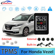 XINSCNUO Car TPMS For Honda Vezel Tire Pressure and Temperature Monitoring System with 4 Sensors tn400 wireless tire pressure monitoring tpms system monitor 4 internal sensors for renault peugeot toyota and all car free ship