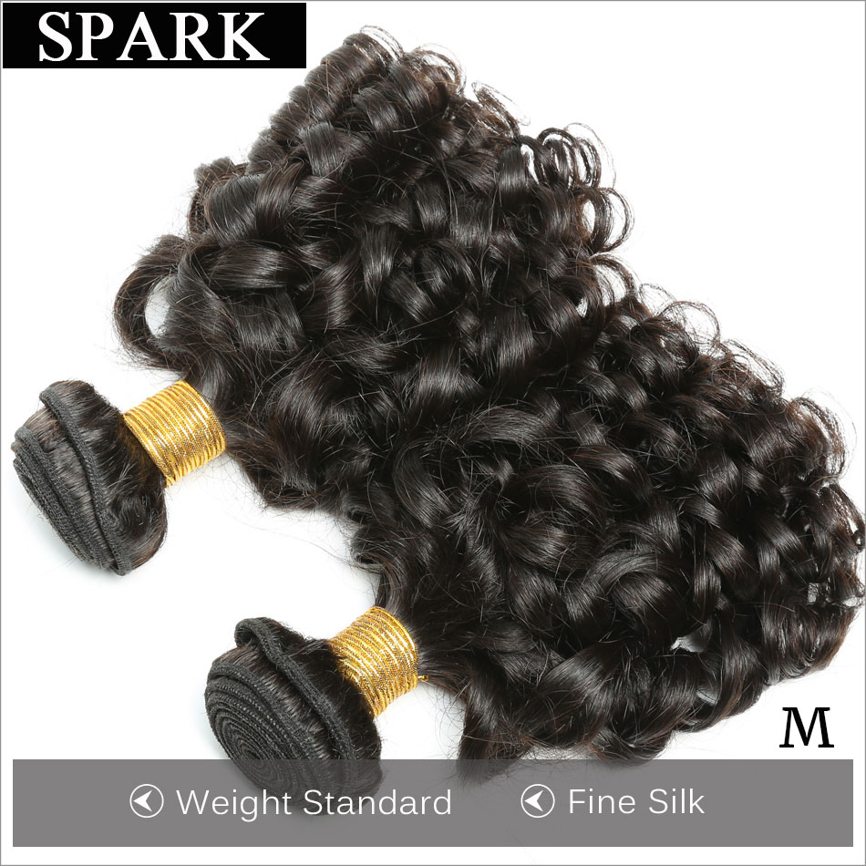Spark Brazilian Bouncy Curly Hair Human Hair Extension Weave Bundles 1/3/4PCS 100% Remy Human Hair Bundle Extension Medium Ratio