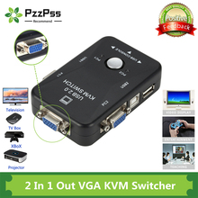 PzzPss USB KVM Switch 2 Port VGA SVGA Switch Box USB 2.0 KVM Mouse Switcher Keyboard 1920*1440 Vga Splitter Box Sharing Switch