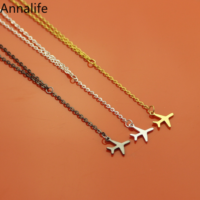 2019 New Rose Gold Gun Black Plane Necklace Airplane Pendant Necklace Aircraft Chain Layered Necklace Women Tiny Dainty Jewelry image