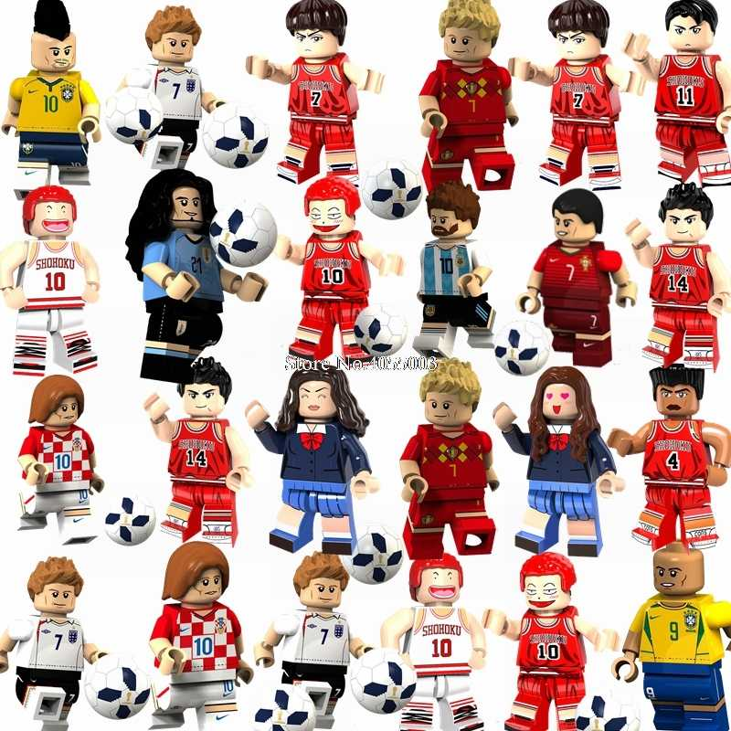 For Legoing SLAM DUNK Football Player Mitsui Hisashi Hanamichi Beckham Ronaldo Cruijff Professional Figures Blocks Legoings City