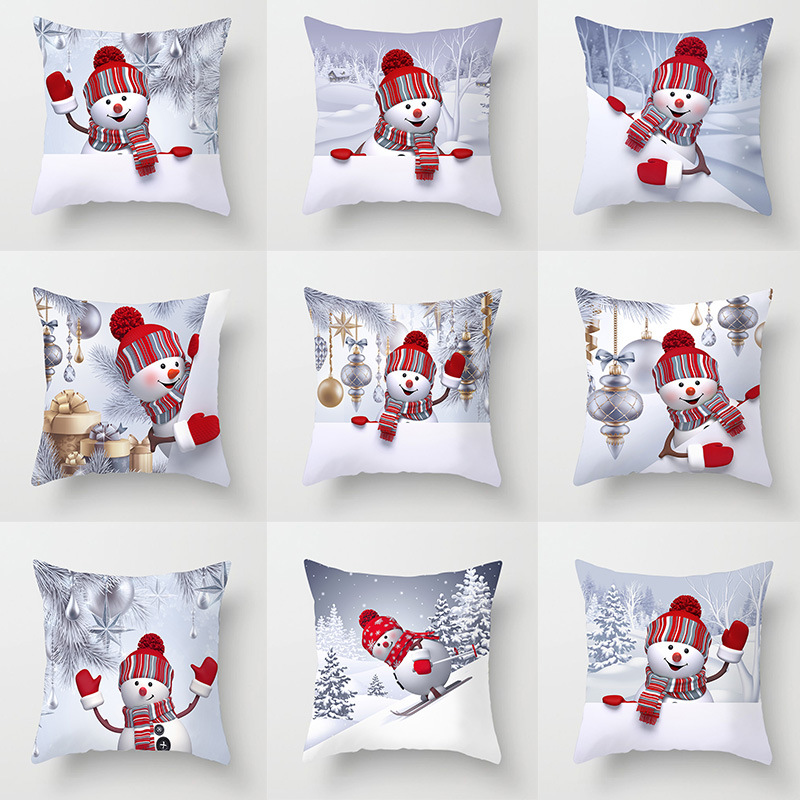 Sigle-sided Printing Polyester Christmas Decorative Throw Pillows Case Cartoon Snowman Santa Claus Cushion Cover Car Home Decor