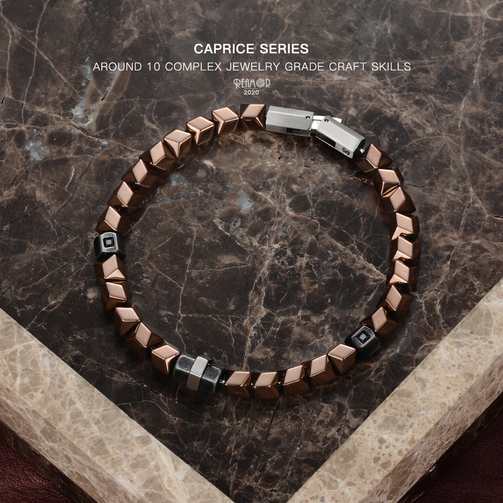 REAMOR DIY Detachable Coffee Golden Color Hematite Beads Bracelets Black Zircon CNC Stainless Steel Bracelet Men Women Jewelry